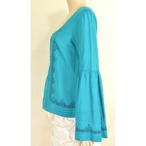 Free People Tops - Free People top SZ S turquoise teal beaded long be